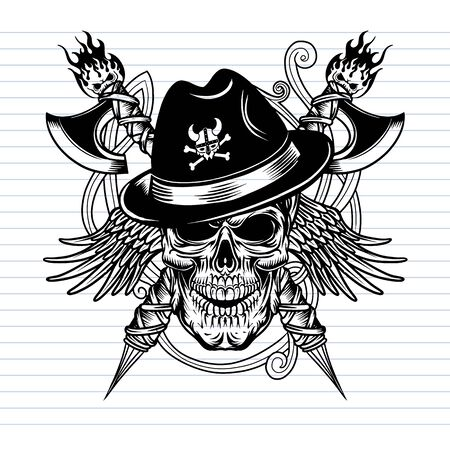 vector illustration of a skull wearing a viking hat with axes and wings Isolated on background.