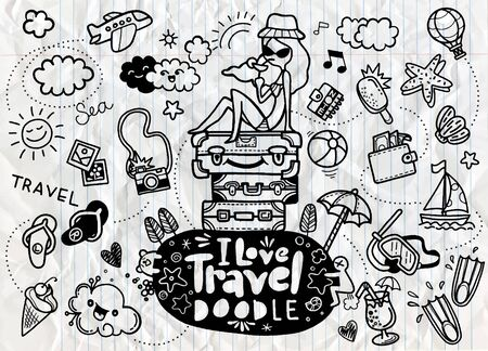 Set of hand drawn travel doodle. Vector illustration. Tourism and summer sketch with travelling elements, slipper, bikini, sunglasses, camera, cocktail, ticket Banque d'images - 129691387