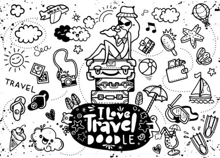 Set of hand drawn travel doodle. Vector illustration. Tourism and summer sketch with travelling elements: slipper, bikini, sunglasses, camera, cocktail, ticket