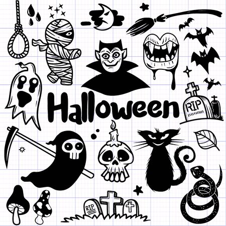 Happy Halloween design elements. Halloween design elements, badges, labels, icons and objects