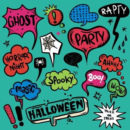 Halloween speech bubbles set with text,  Halloween, trick or threat, party, spooky,boo,magic,wow  etc. Halloween design elements. Hand Drawn set , Vector illustration