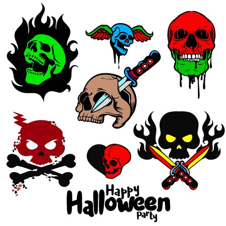 Set of different skull charactres ,Spooky skulls and bones,Halloween hand-drawn decoration