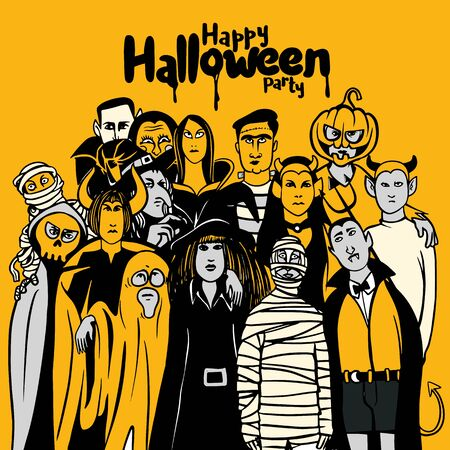 Halloween party with people in different monster costume , vector illustration