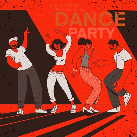 young men and women dressed in trendy clothes dancing at club or music concert, group of male and female cartoon characters having fun at party. Flat colorful vector illustration Иллюстрация