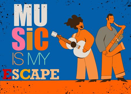 Music is my escape.Inspirational quote,guitarist, saxophonist,Vector of man  with musical instruments isolated