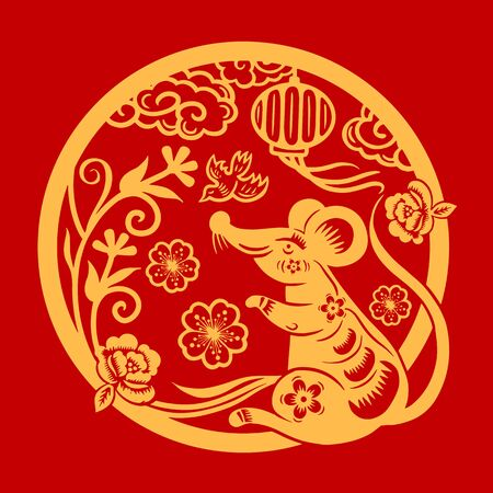 Happy Chinese New Year 2020 year of the rat, Zodiac sign for greetings card, invitation, posters, banners, calendar Vettoriali