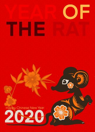 Template image Year of the rat, mice on  background. Lunar horoscope sign mouse. Chinese Happy new year 2020. Funny sketch mouse with long tail. Illusztráció