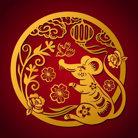 Happy Chinese New Year 2020 year of the rat, Zodiac sign for greetings card, invitation, posters, banners, calendar Çizim