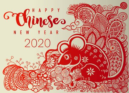 Chinese new year 2020 year of the rat , paper cut rat character, flower and asian elements with craft style on  background. Decorative outline hand drawn style