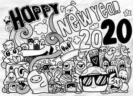 Fondo de hipster de doodle de año nuevo 2020, el grupo de dibujos animados lindos y lindos se divierten, los personajes se apilan juntos. ilustración de garabatos de vector dibujado a mano