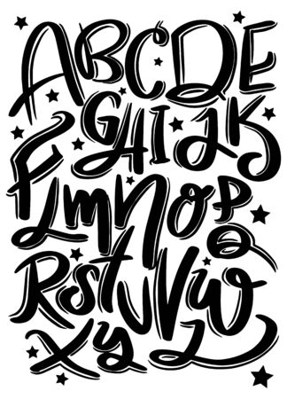 Hand drawn typeface set. Brush painted characters: Vector logo font. Typography alphabet for your designs: logo, typeface, card, wedding invitation Illustration