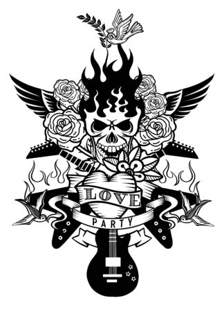 vector illustration with an electric guitar and Human skull ,revolver, roses and music notes tattoo and t-shirt design. Symbol of rock, musical festivals  イラスト・ベクター素材
