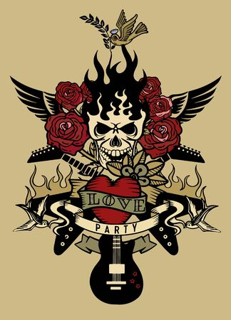 vector illustration with an electric guitar and Human skull ,revolver, roses and music notes tattoo and t-shirt design. Symbol of rock, musical festivals Ilustracja