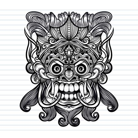 Traditional Balinese mask of the terrible mythical defender, Vector outline illustration for coloring book isolated Imagens - 134395957