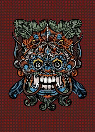 Traditional Balinese mask of the terrible mythical defender, Vector outline illustration Imagens - 134396064