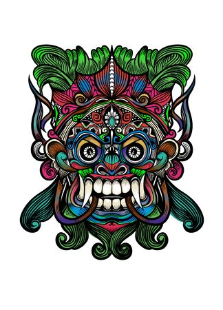 Traditional Balinese mask of the terrible mythical defender, Vector outline illustration Imagens - 134396372