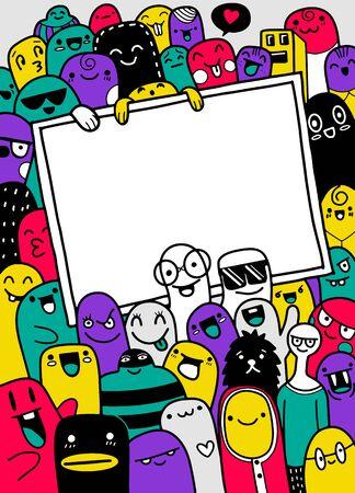 illustrazione di mostri e simpatici alieni amichevole cool carino con copia spazio, collezione di mostri disegnati a mano
