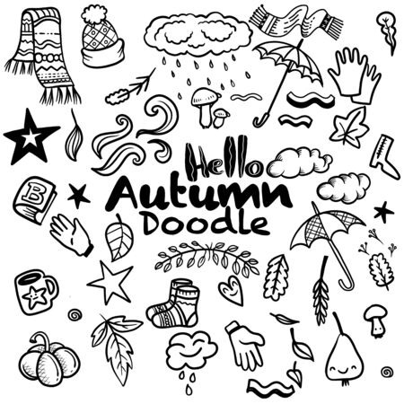 Sketchy vector hand drawn Doodle cartoon set of objects and symbols on the autumn theme Vettoriali