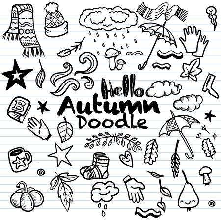 Sketchy vector hand drawn Doodle cartoon set of objects and symbols on the autumn theme Ilustração