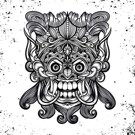 Traditional Balinese mask of the terrible mythical defender, Vector outline illustration for coloring book isolated
