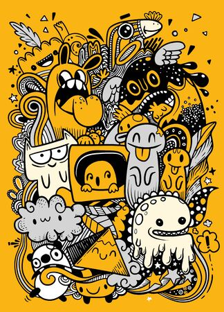 Abstract grunge urban pattern with monster character, Super drawing in graffiti style, background. Vector illustration 일러스트