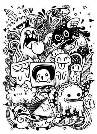 Abstract grunge urban pattern with monster character, Super drawing in graffiti style, background. Vector illustration 스톡 콘텐츠 - 134397179