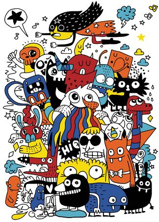 Funny monsters seamless pattern for coloring book. Black and white background. Vector illustration