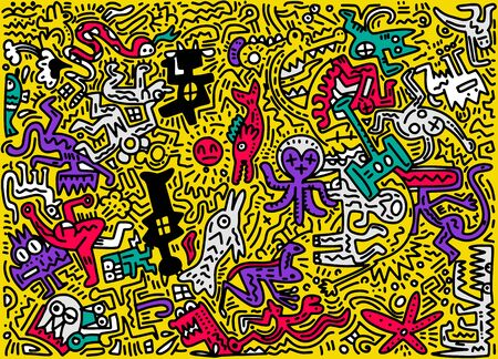 abstract background ,Hand Drawn Vector Illustration of Doodle funny animal, illustrator line tools drawing,Flat Design Archivio Fotografico - 134397820
