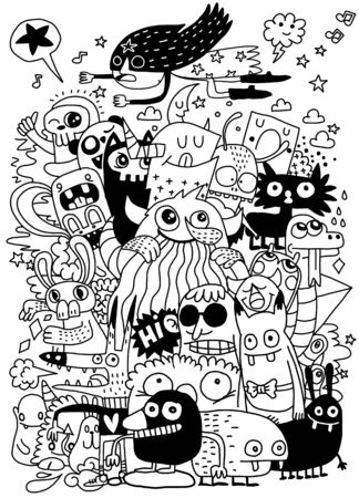 Funny monsters pattern for coloring book. Black and white background. Vector illustration