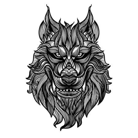 Disegnare a mano astratto testa volpe, illustrazione vettoriale testa lupo feroce, sagoma contorno