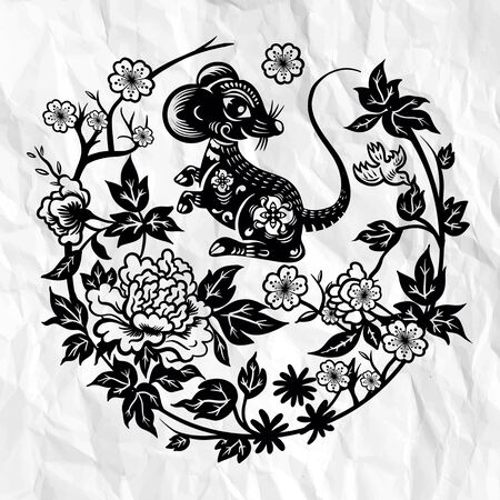Traditional paper cut out of Chinese rat zodiac sign in Circle Vector illustration