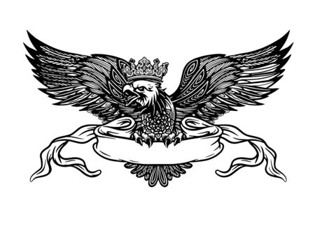Hand Drawn Eagle with ribbon for text, Detailed Hand Drawn Eagle Holding Scroll Vector