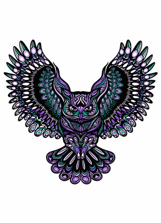 Owl with open wings and claws. OWL drawn in style. Antistress freehand sketch drawing. Vector illustration