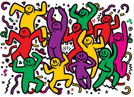 Hand drawing Doodle Vector Illustration of Funny party people ,Flat Desig