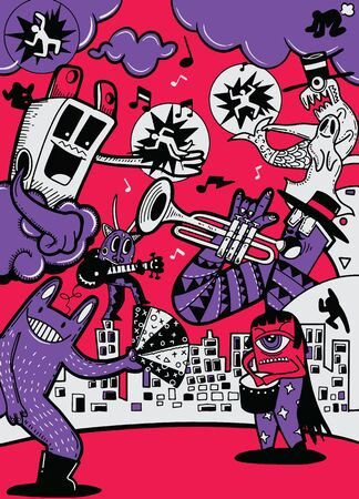 Vector illustration of Monsters and cute alien friendly, cool, cute hand-drawn monsters collection