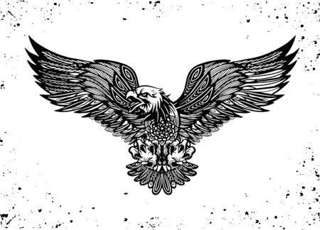 Adleremblem lokalisiert auf weißer Vektorillustration. Amerikanisches Symbol der Freiheit, Diese Vektorgrafik kann als Druck verwendet werden
