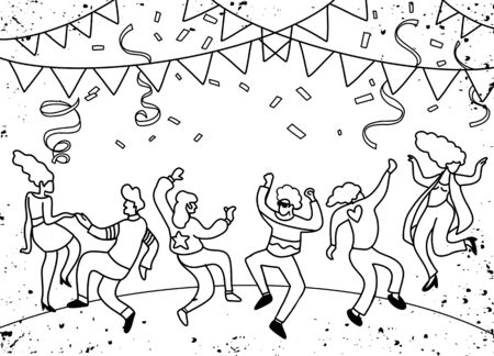 Dibujo a mano Doodle ilustración vectorial de gente divertida fiesta, diseño plano
