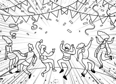 Disegno a mano Doodle illustrazione vettoriale di gente divertente festa, Design piatto Vettoriali