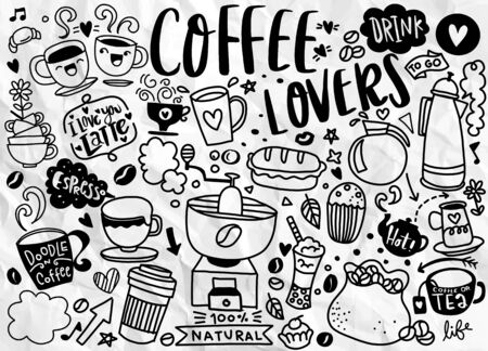 Set of hand drawn coffee and delicious sweets . Vector illustration. Cakes, biscuits, baking, cookie, pastries, donut, ice cream, macaroons. Perfect for dessert menu or food package desig Ilustração Vetorial