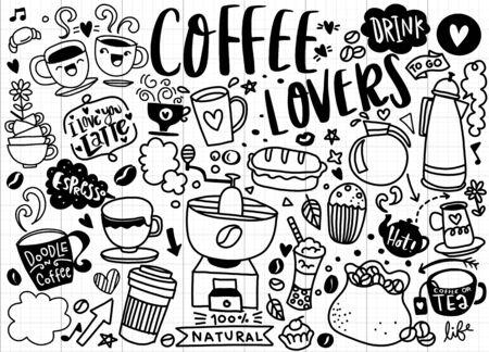 Conjunto de café dibujado a mano y deliciosos dulces. Ilustración vectorial. Tartas, bizcochos, repostería, galleta, bollería, rosquilla, helados, macarrones. Perfecto para el menú de postres o el diseño de paquetes de comida.