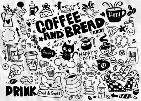 Set of hand drawn coffee and delicious sweets . Vector illustration. Cakes, biscuits, baking, cookie, pastries, donut, ice cream, macaroons. Perfect for dessert menu or food package design Vector Illustratie