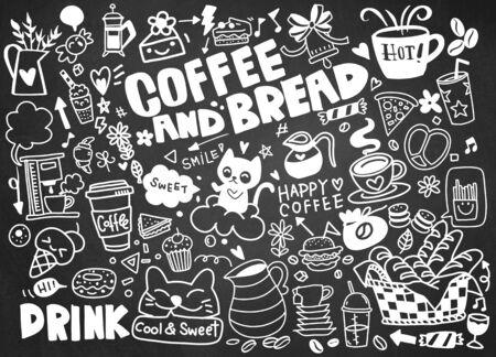 Set di caffè disegnato a mano e deliziosi dolci. Illustrazione vettoriale. Torte, biscotti, prodotti da forno, biscotti, pasticcini, ciambelle, gelati, amaretti. Perfetto per il menu di dessert o il design di confezioni di cibo Vettoriali