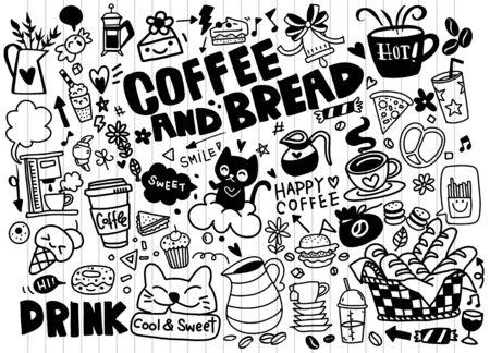 Ensemble de café dessiné à la main et de délicieux bonbons. Illustration vectorielle. Gâteaux, biscuits, pâtisserie, biscuiterie, pâtisseries, beignets, glaces, macarons. Parfait pour le menu des desserts ou la conception d'emballages alimentaires