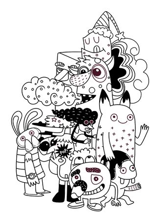 Vector illustration of Monsters and cute alien friendly, cool, cute hand-drawn monsters collection Vector illustration