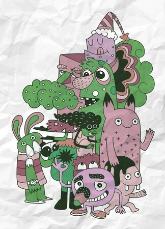 Vector illustration of Monsters and cute alien friendly, cool, cute hand-drawn monsters collection Vector EPS 10 illustration Illustration
