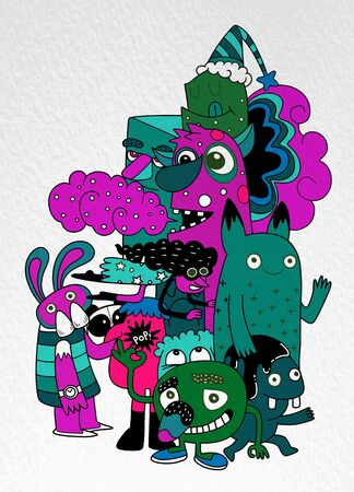 Vector illustration of Monsters and cute alien friendly, cool, cute hand-drawn monsters collection Vector EPS 10 illustration  イラスト・ベクター素材