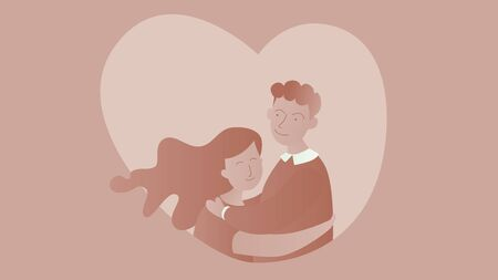 Romantic concept. Couple in love. Two hugging lovers. Vector illustration