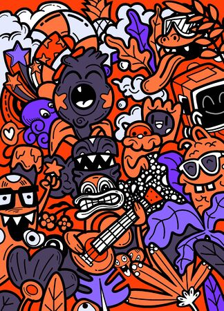 vector doodle monsters hand drawn ,vector illustration.