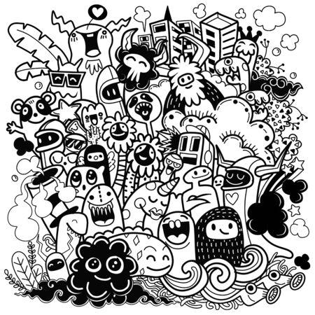 Illustration vectorielle de monstre heureux, style doodle