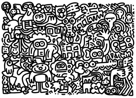 Wild  Life Doodle Icons Hand Made , Vector Illustration